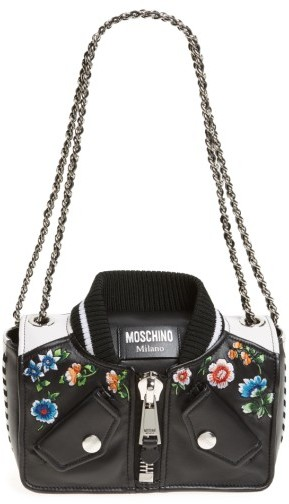 MoschinoMoschino Embroidered Floral Bomber Jacket Leather Shoulder Bag - White