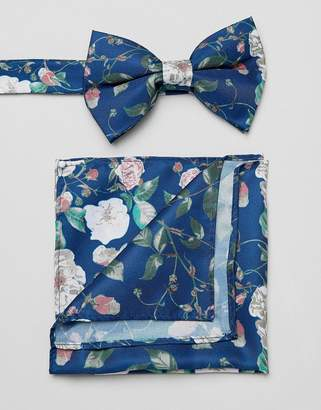 Asos DESIGN bow tie and pocket square in blue floral