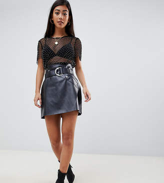 Asos DESIGN Petite leather look a-line mini skirt with asymmetric belt