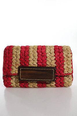 mar Y sol Hot Pink Beige Woven Straw Wood Closure Clutch Handbag $39 thestylecure.com