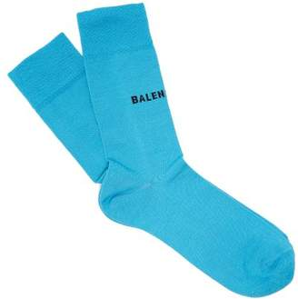 Balenciaga Logo Cotton Blend Socks - Womens - Blue