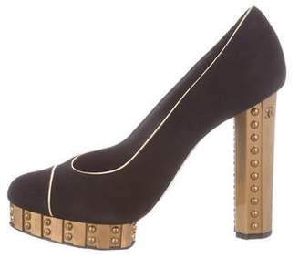 Chanel Suede Platform Pumps