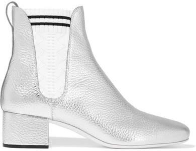 Fendi - Metallic Textured-leather Sock Boots - Silver