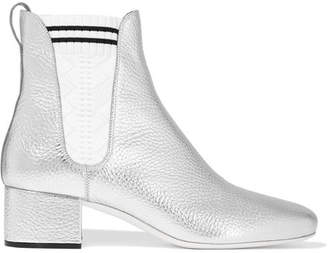Metallic Textured-leather Ankle Boots - Silver