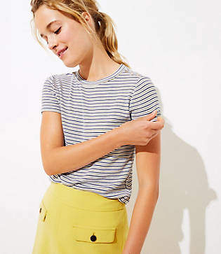 LOFT Petite Striped Ribbed Shoulder Button Tee