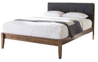 Baxton Studio Leyton Mid-Century Gray Fabric and Medium Brown Finish Wood King-Size Platform Bed