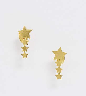 Ottoman Hands gold plated star climber earrings