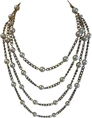 Kenneth Jay Lane 4 ROW CHAIN WITH WHITE PEARL STATIONS NECKLACE