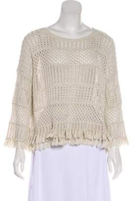 Cotton by Cashmere Long Sleeve Fringe Sweater
