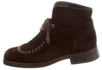 Saint Laurent Squared-Toe Suede Boots
