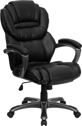 Flash Furniture GO-901-BK-GG High Back Leather Executive Office Chair with Leather Padded Loop Arms