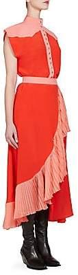 Givenchy Women's Silk Colorblock Ruffle Dress