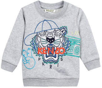 Kenzo Tiger in Baseball Cap Embroidered Sweatshirt, Size 12-18 Months