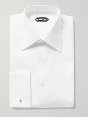 Tom Ford White Slim-Fit Bib-Front Double-Cuff Cotton Tuxedo Shirt - Men - White