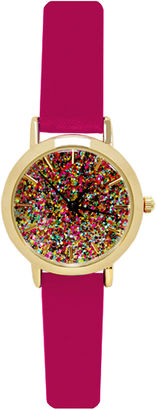 Decree Concepts Womens Pink Glitter-Dial Strap Watch $26 thestylecure.com