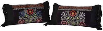 One Kings Lane Vintage Antique Suzani Fabric Throw Pillows Pair - Castle Antiques & Design