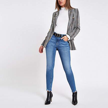 Womens Mid Blue denim Amelie super skinny jeans