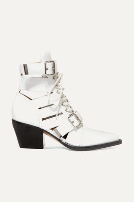 Chloé Rylee Cutout Glossed-leather Ankle Boots