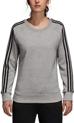 adidas Cotton Fleece 3 Stripe Round Neck Long Sleeve Sweatshirt