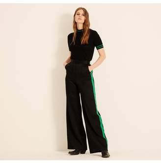 Amanda Wakeley Black Satin Wide Leg Trousers With Emerald Stripe