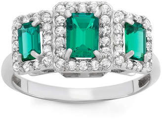 FINE JEWELRY Lab Created Emerald & Lab Created White Sapphire Sterling Silver Ring