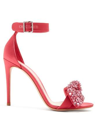 Alexander McQueen Embellished Bow Satin Sandals - Womens - Pink White