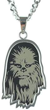 Star Wars Jewelry Unisex Etched Chewbacca Stainless Steel Chain Pendant Necklace