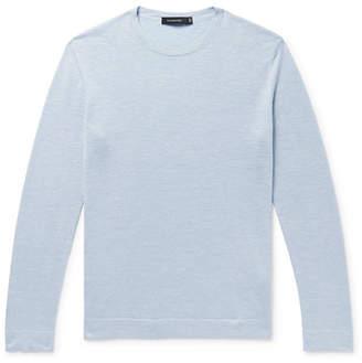 Ermenegildo Zegna Slub Cashmere, Silk And Linen-blend Sweater - Light blue