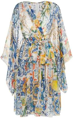Dolce & Gabbana V-neck majolica print silk chiffon dress