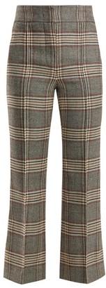 Joseph Ridge Checked Wool Trousers - Womens - Grey Multi