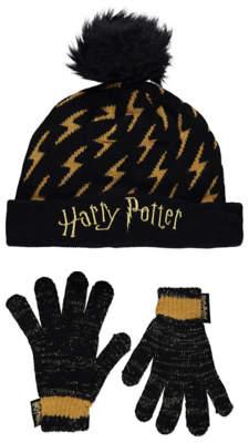 George Harry Potter Lightening Bolt Hat and Shimmering Gloves Set