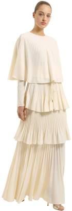 Antonio Berardi Tiered Plisse Crepe De Chine Dress