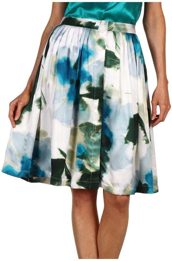 Rachel Roy Floral Print Pleated Skirt