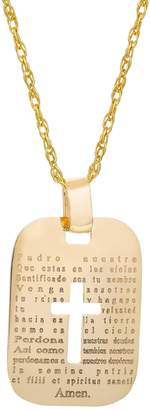 "14k Gold Spanish ""The Lord's Prayer"" Cross Pendant"