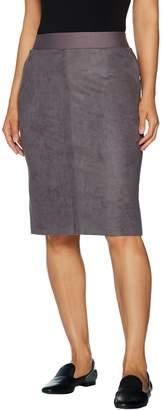 Logo By Lori Goldstein LOGO by Lori Goldstein Faux Suede Pencil Skirt w/ Ponte Waistband