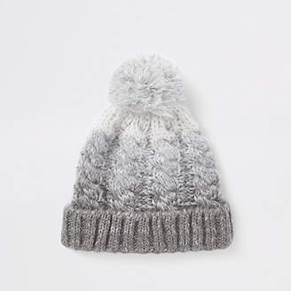 River Island Grey ombre bobble beanie hat