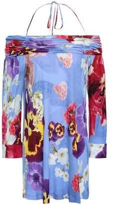 Roberto Cavalli Off-the-shoulder Floral-print Stretch-crepe Mini Dress