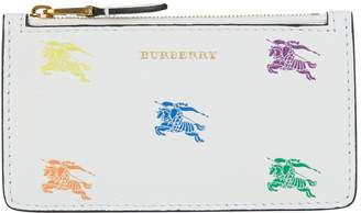 Burberry Leather Equestrian Knight Zip Card Holder