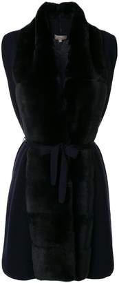 N.Peal long fur placket cashmere gilet