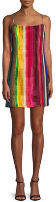 Milly Rainbow Velvet Mini Slip Dress