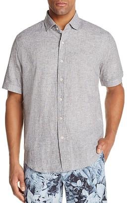 Robert Graham Modern Americana Micro Grid Linen Blend Slim Fit Button-Down Shirt $138 thestylecure.com