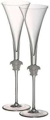 Versace Set of Two Medusa Lumiere Champagne Flutes