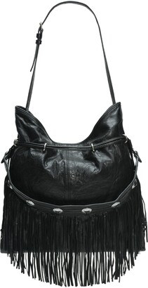 Frye Small Sacha Concho Fringe Leather Hobo Bag