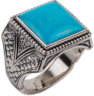 Konstantino Men's Sterling Silver & Turquoise Signet Ring
