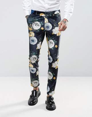 Asos Design Super Skinny Suit Pants In Navy Velvet With Bright Floral Print