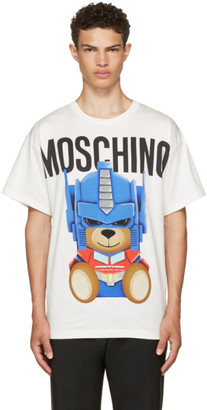 Moschino White Transformers Teddy Logo T-Shirt $245 thestylecure.com