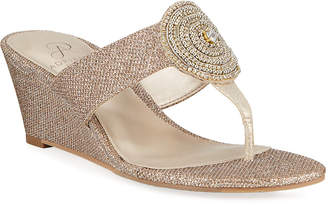 Adrianna Papell Cora Glittered Medallion Wedge Sandals
