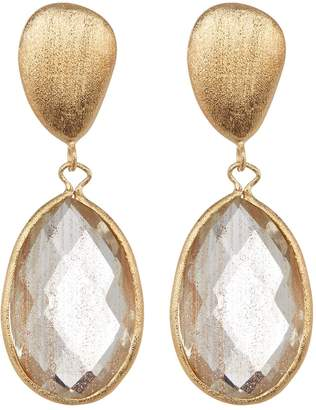 Rivka Friedman 18K Gold Clad Faceted Gold Rutilated Satin Bold Organic Pebble Teardrop Earrings