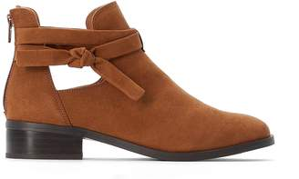 La Redoute COLLECTIONS Faux Suede Cut-Out Ankle Boots with Bow