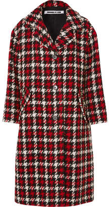 McQ Oversized Checked Wool-blend Bouclé Coat - Red